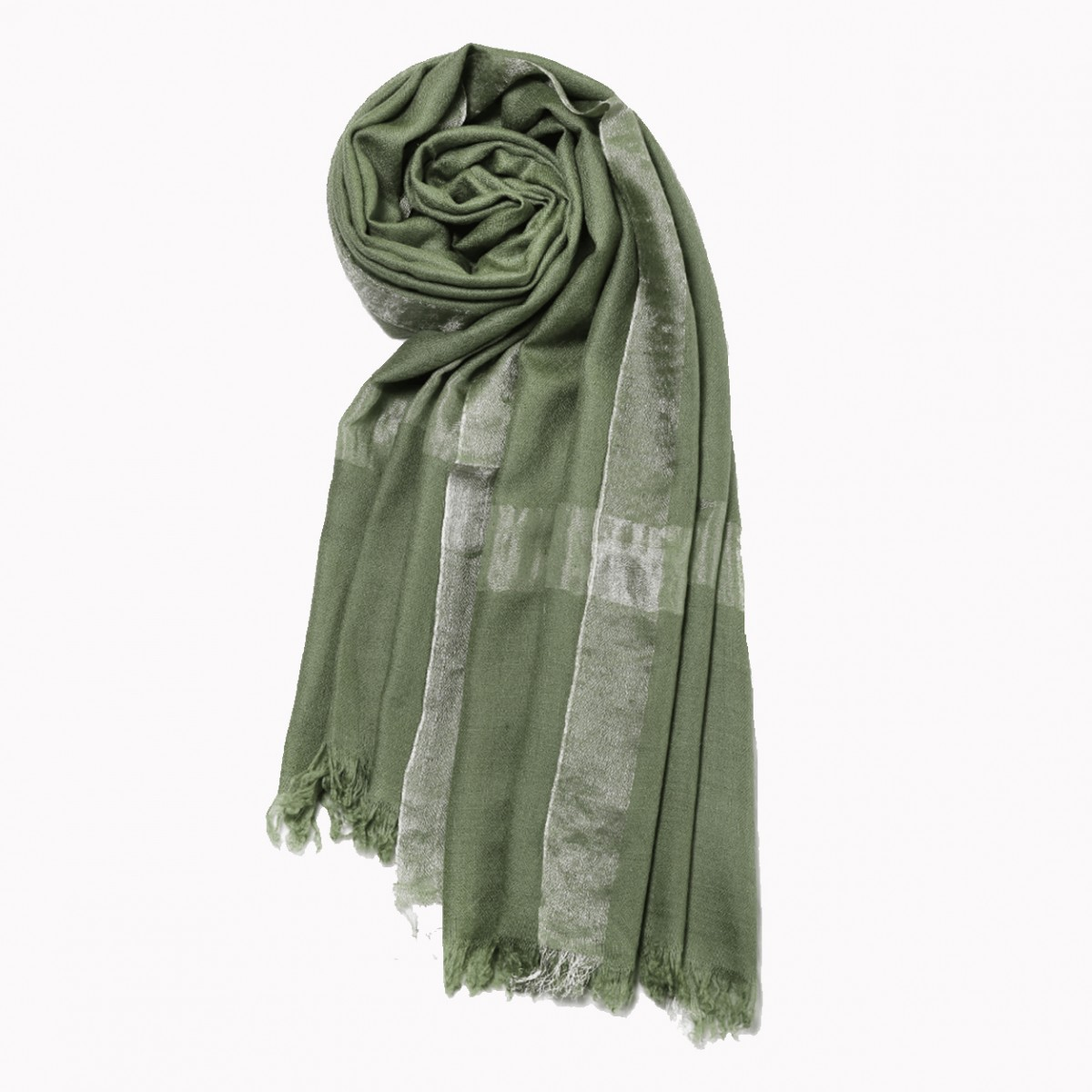 Zari Pashmina Stole - Amazonite green