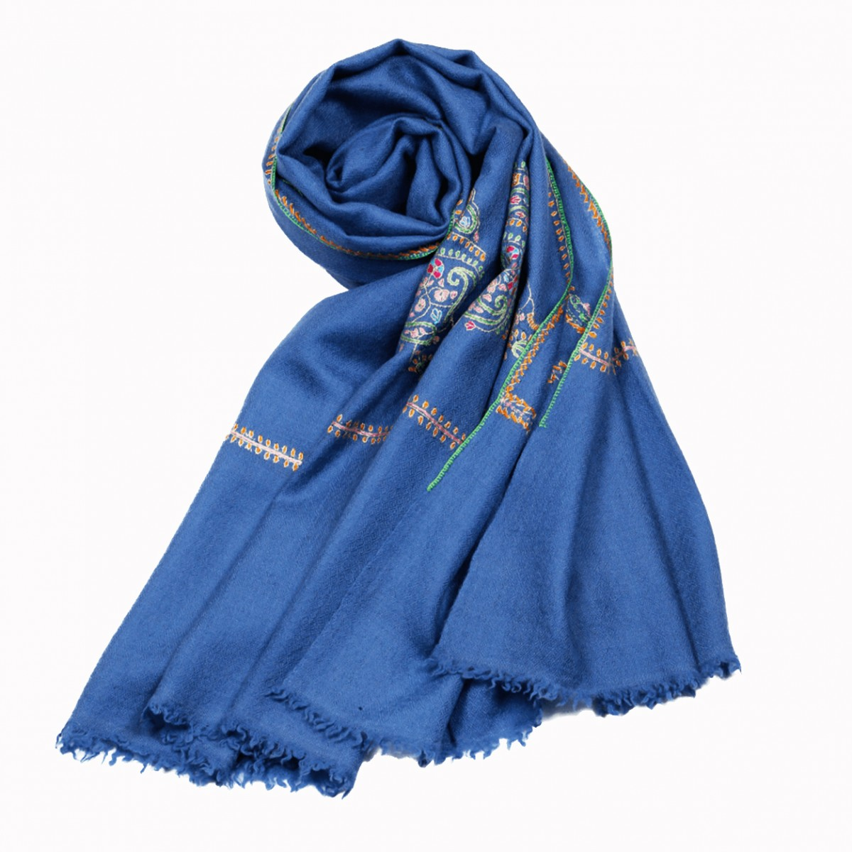Embroidered Handloom Pashmina Stole - Brilliant Blue