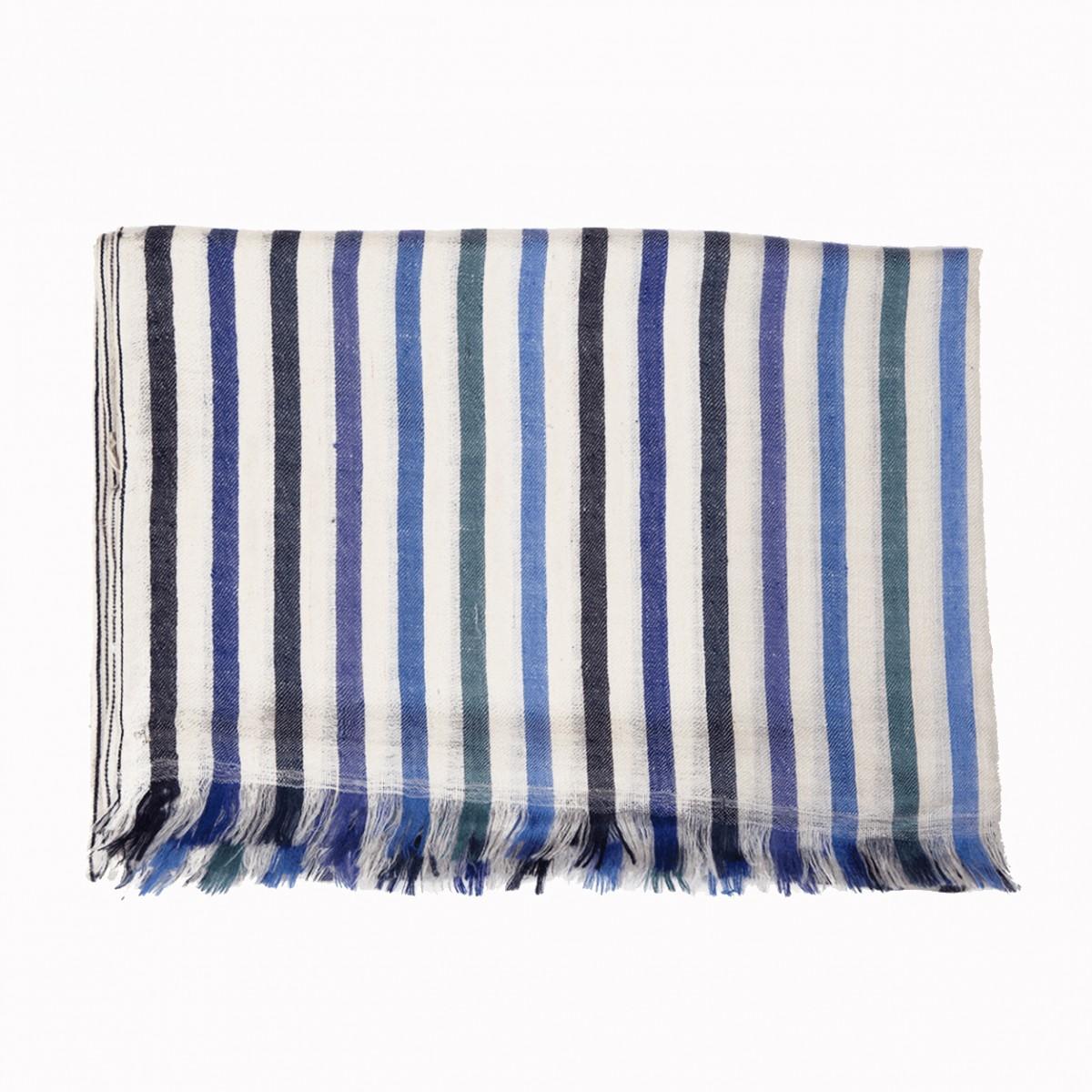 Opera warp stripes ivory and blue pashmina stole