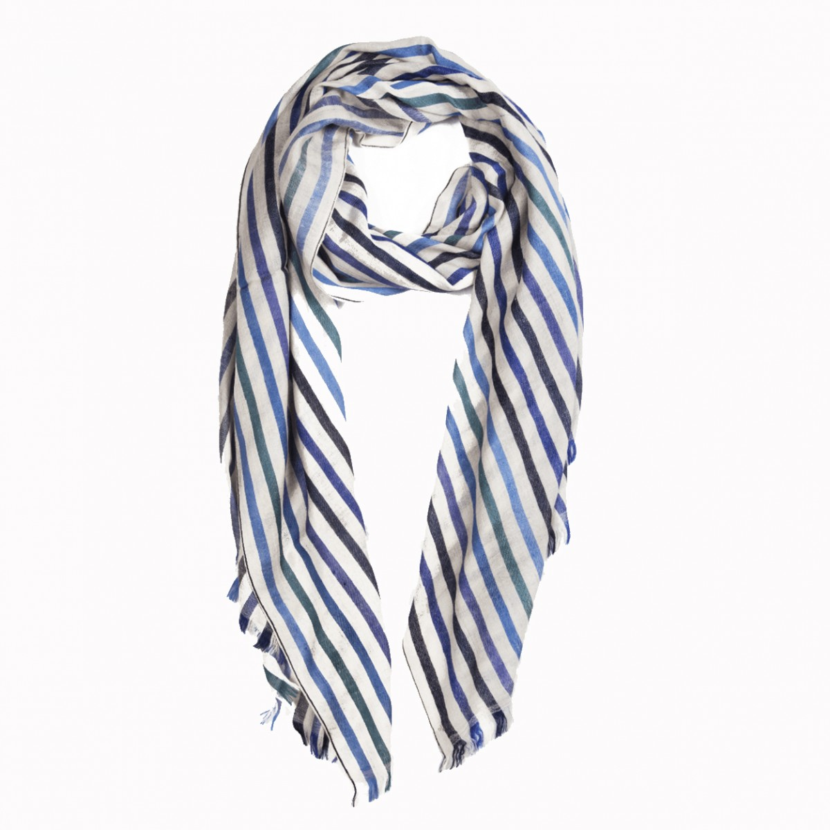 Pattern Opera Warp Pashmina Stole - Ivory and Blue