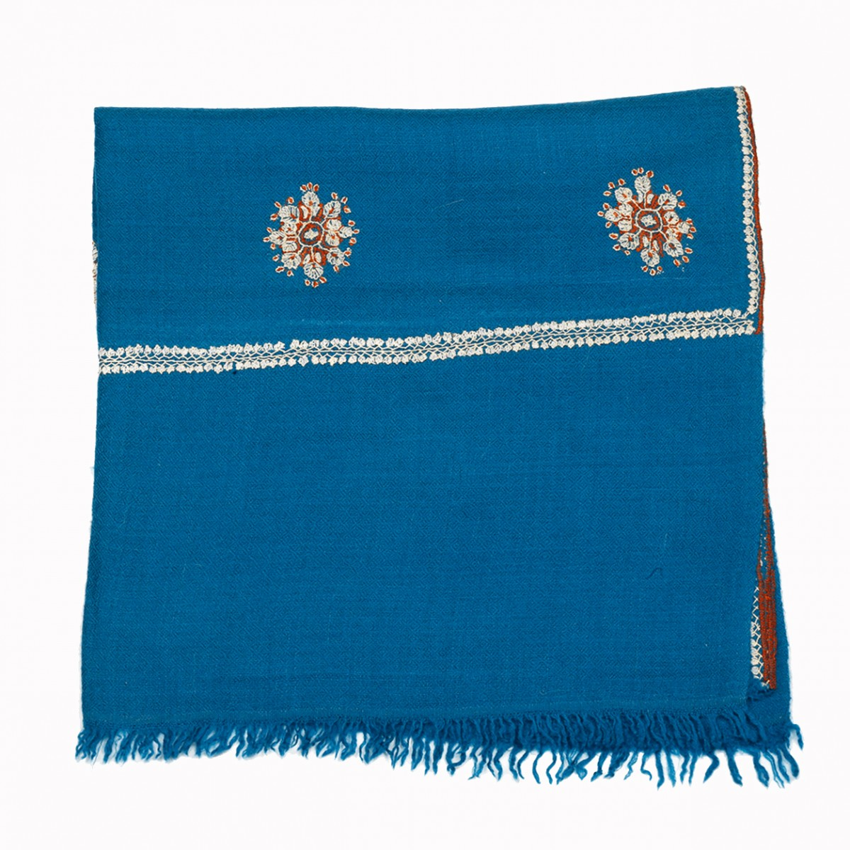 Embroidered Handloom Pashmina Stole - Cerulean