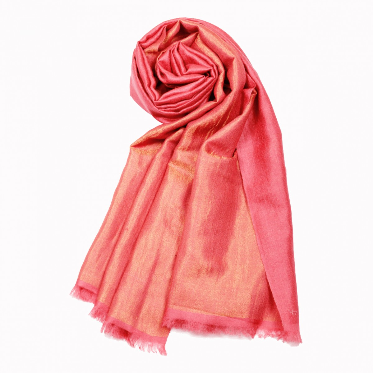 Metallic Dorukha Pashmina Stole - Coral and Gold