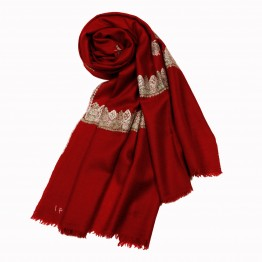 Embroidered Handloom Pashmina Stole - Currant