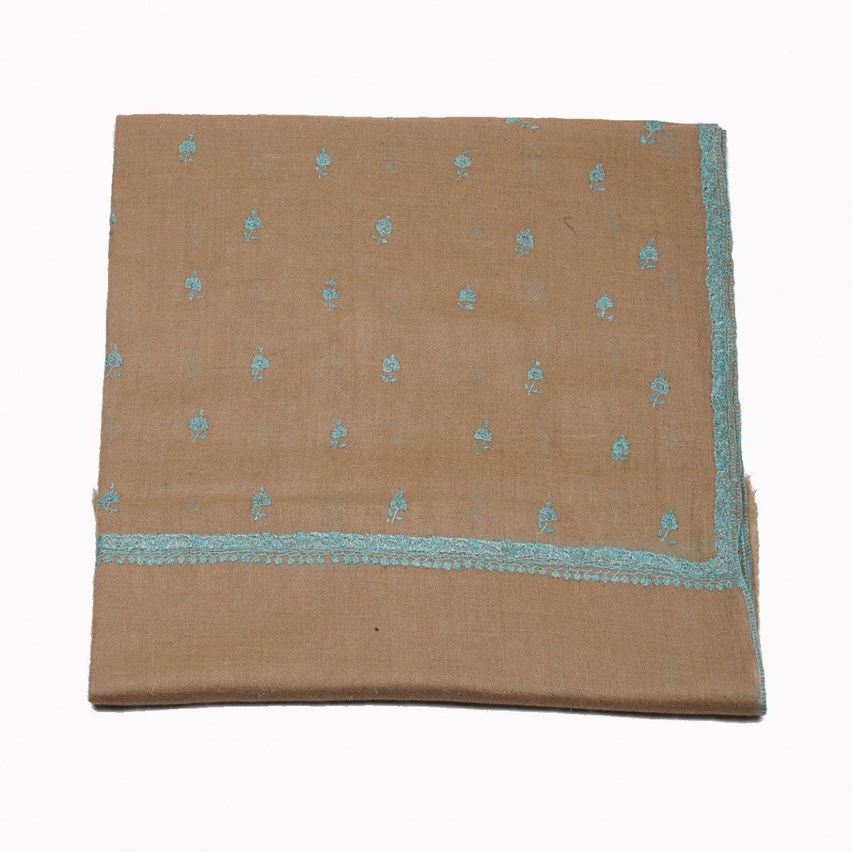 Embroidered Handloom Pashmina Stole - Natural Motifs Scarf