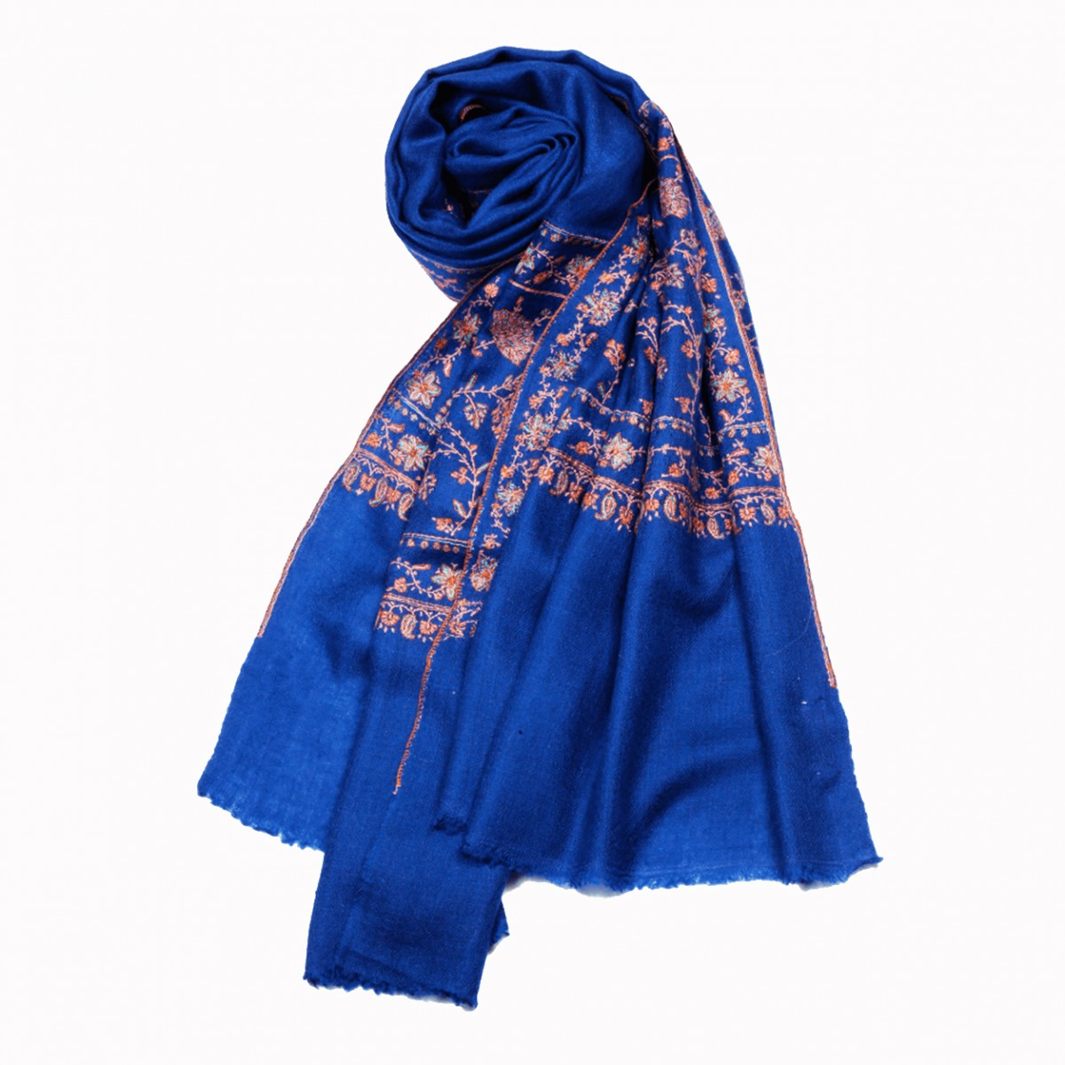 Embroidered Handloom Pashmina Stole - Navy