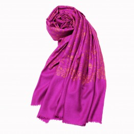 Embroidered Handloom Pashmina Stole - Orchid