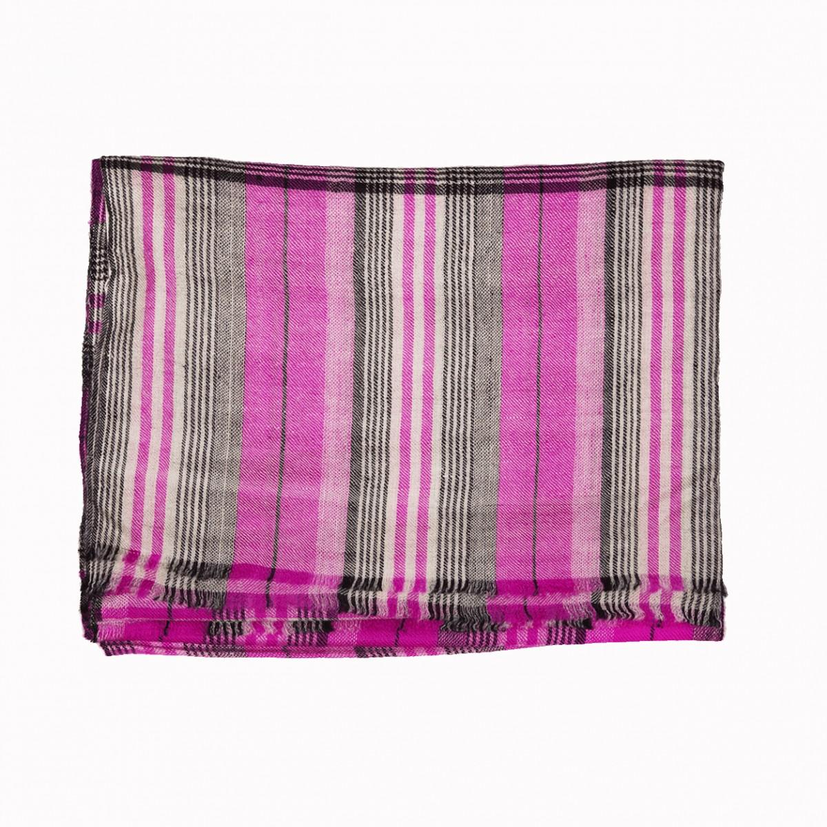 Pattern Zahid Check Pashmina Stole - Magenta Ivory Black