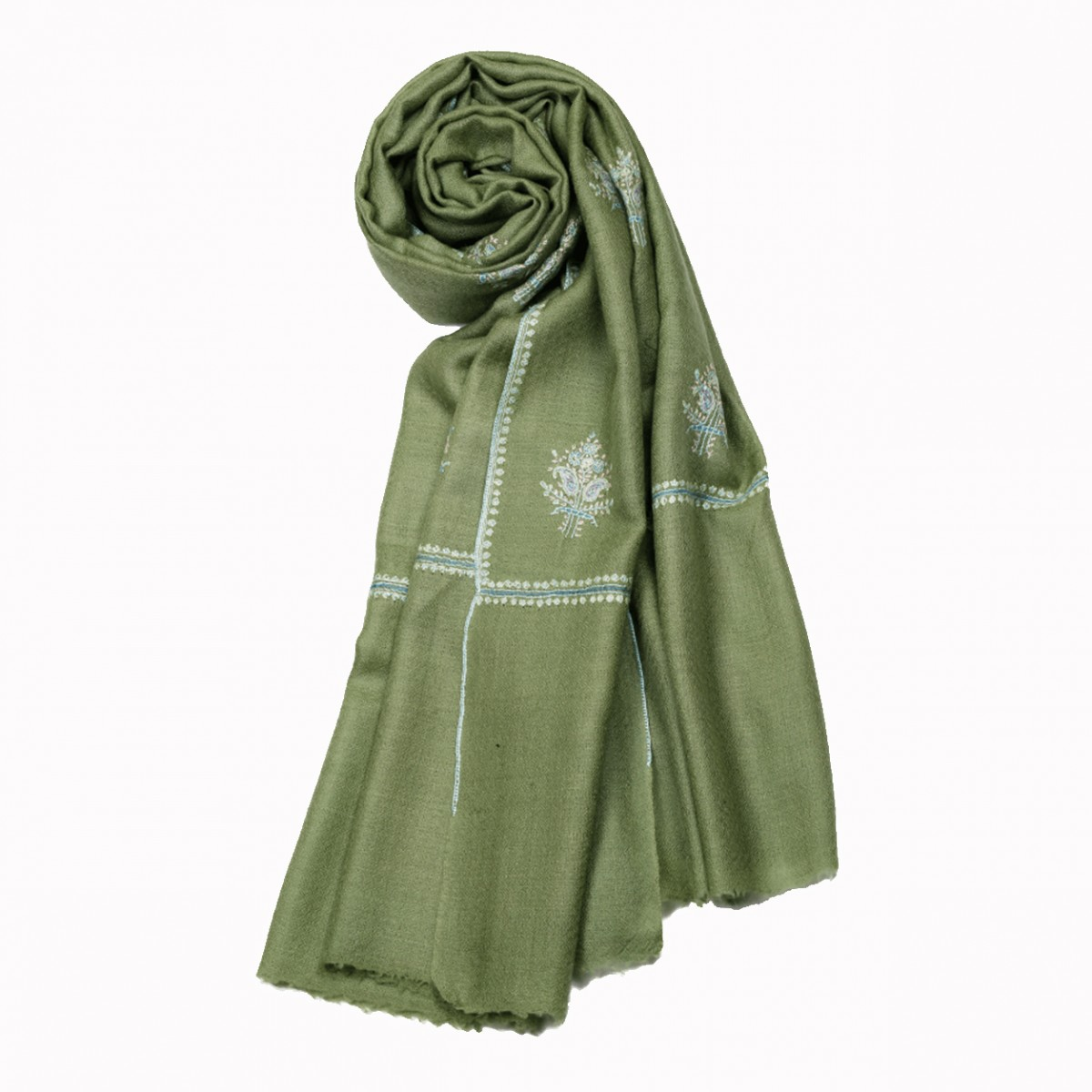 Embroidered Handloom Pashmina Stole - Laurel
