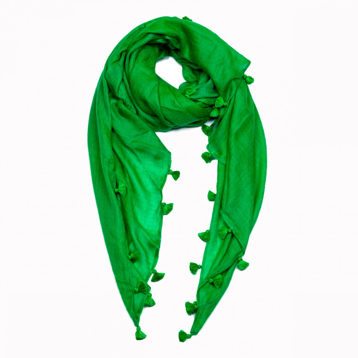 Pom Pom Pashmina Stole - Emerald