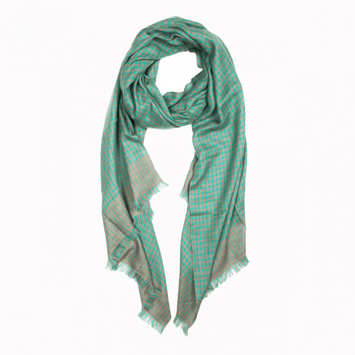 Pattern Elias Pashmina Stole - Natural and Green