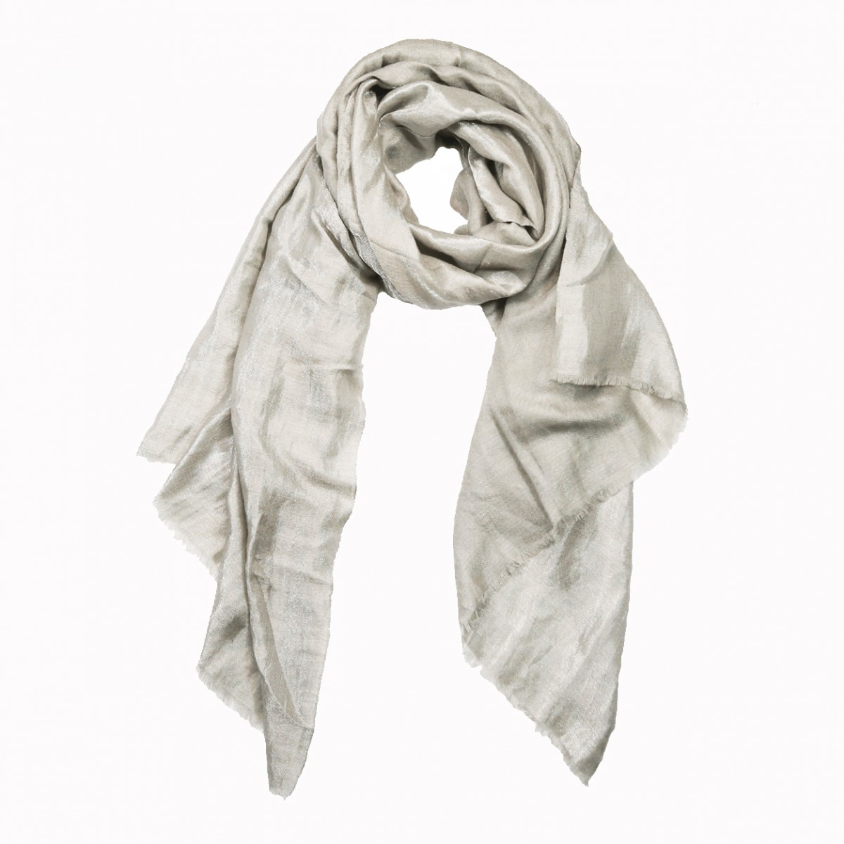 Reversible natural silver metallic pashmina stole