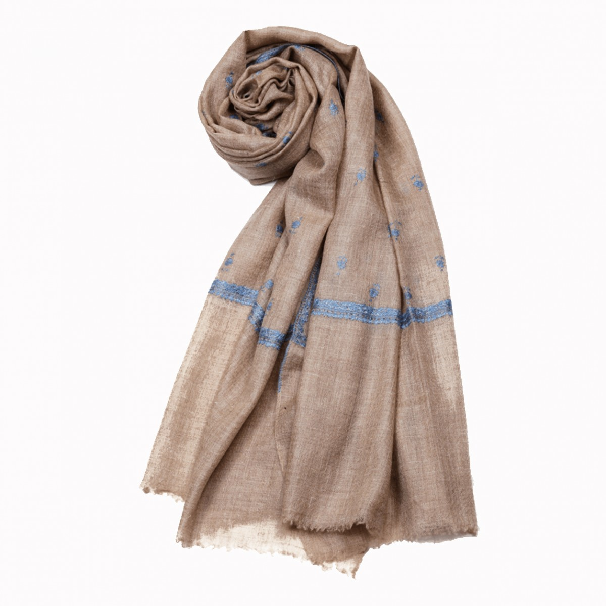 Embroidered Handloom Pashmina - Natural Stole