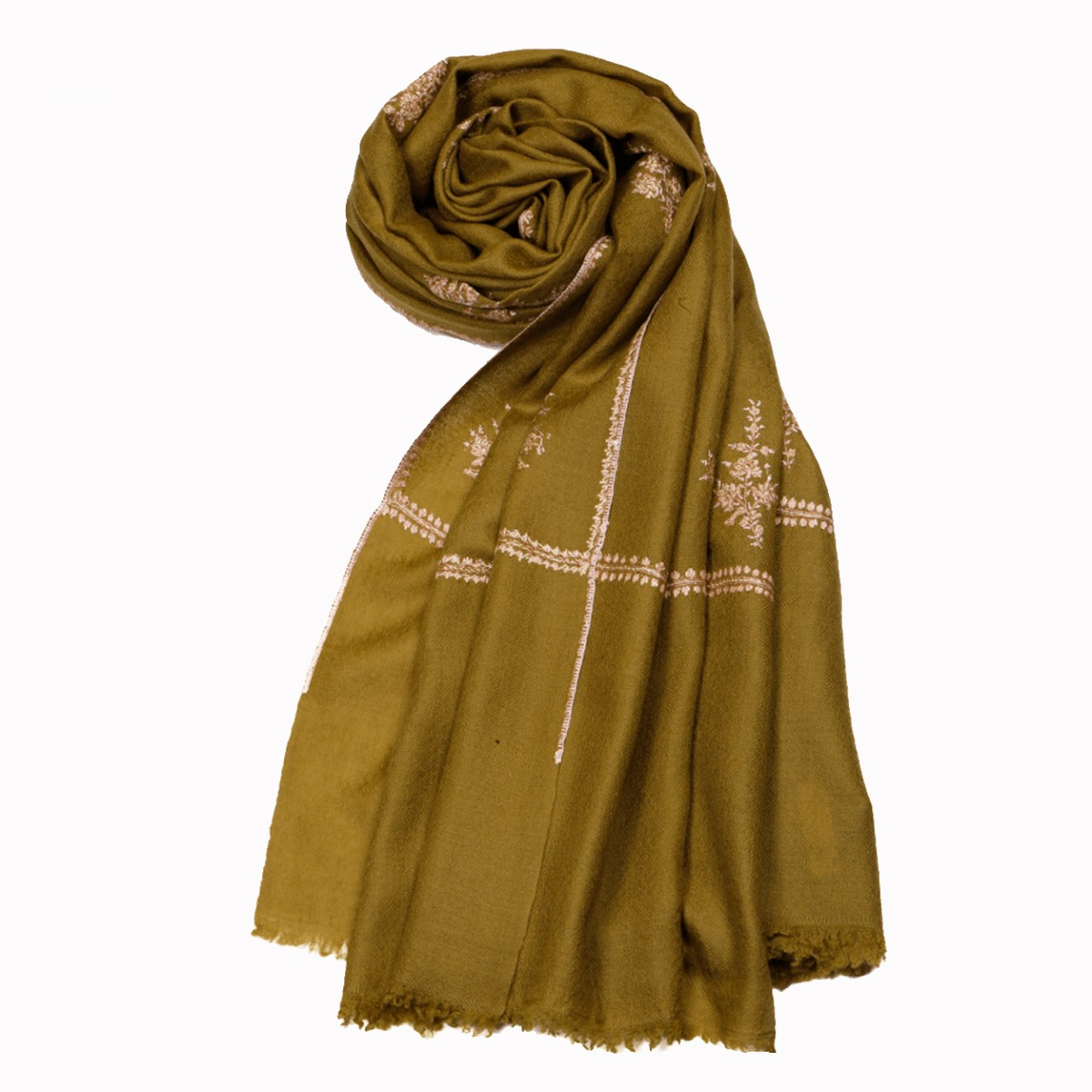 Embroidery handloom pashmina olive
