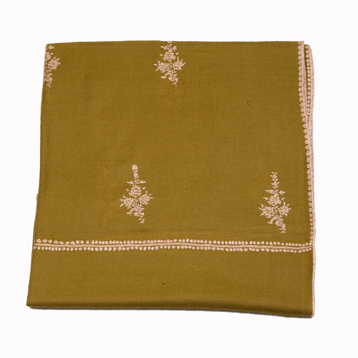 Embroidered handloom pashmina Stole - olive