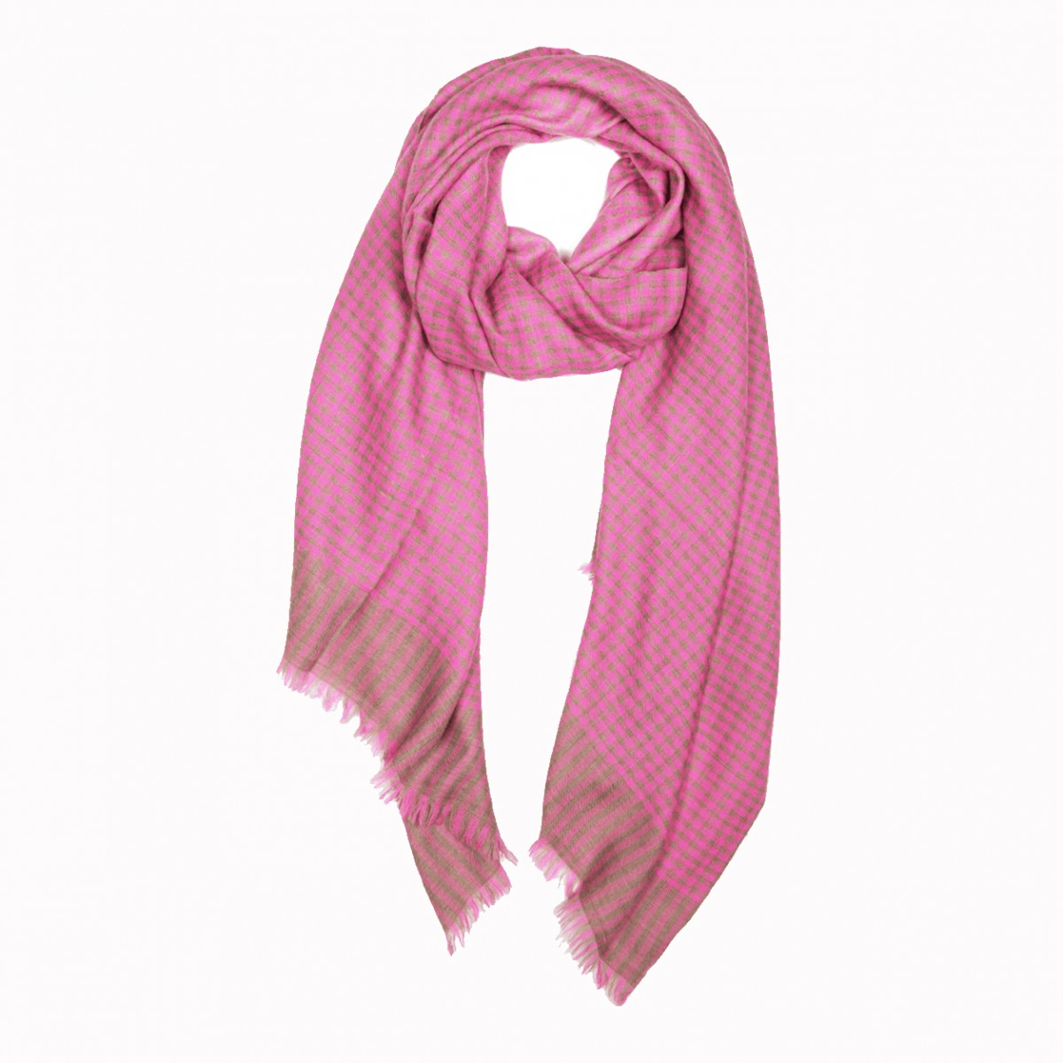 Pattern Elias Pashmina Stole - Natural and Pink