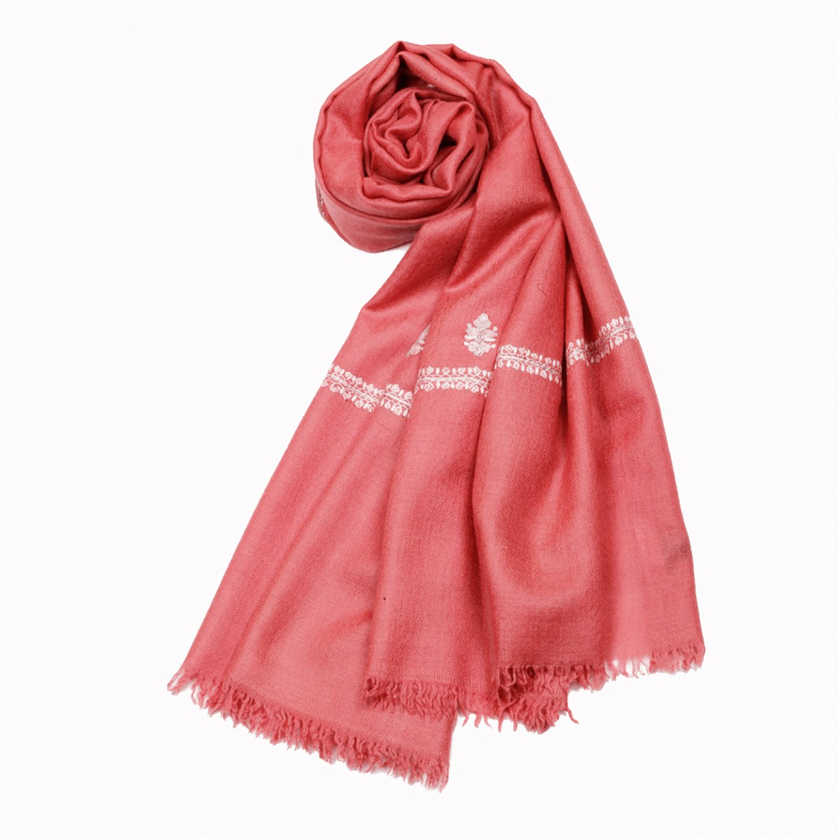 Embroidered Handloom Pashmina Stole - Rose