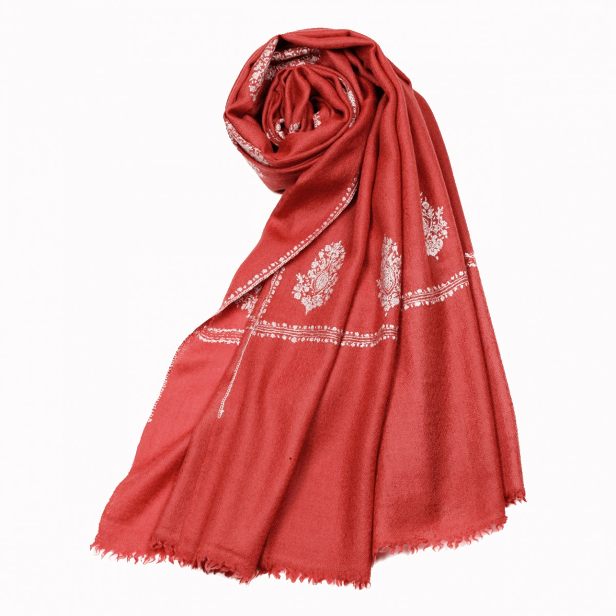 Embroidered Handloom Pashmina Stole - Rouge