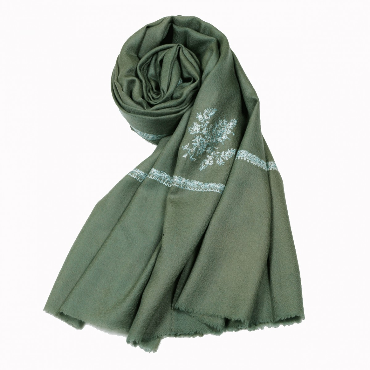 Embroidered Handloom Pashmina Stole - Russian Green