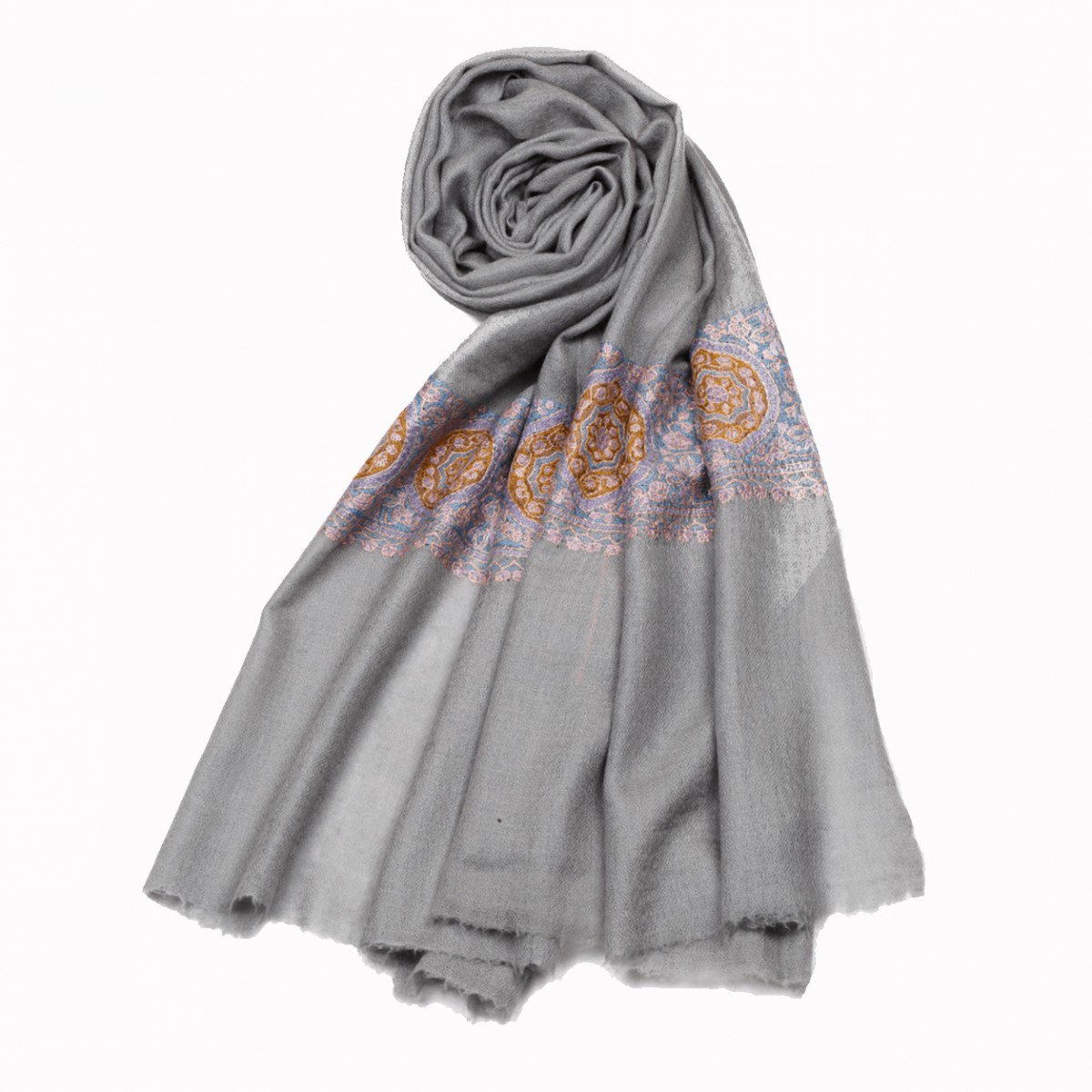 Embroidered Handloom Pashmina Stole - Silver Grey