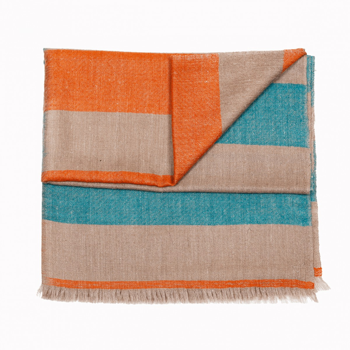 Kashmir Loom stripes natural multi pashmina stole