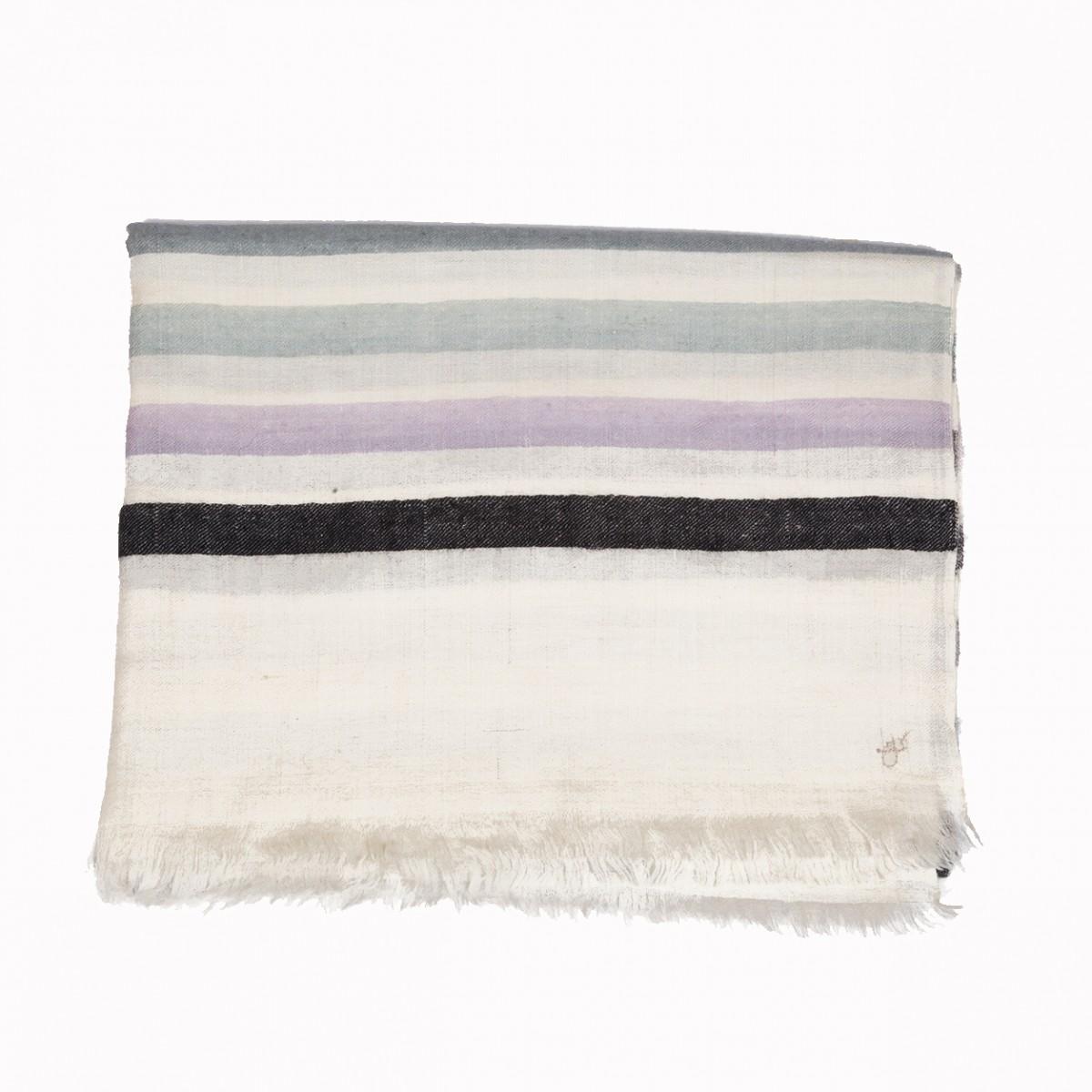 Pattern Pashmina Stole - Black Ivory Grey
