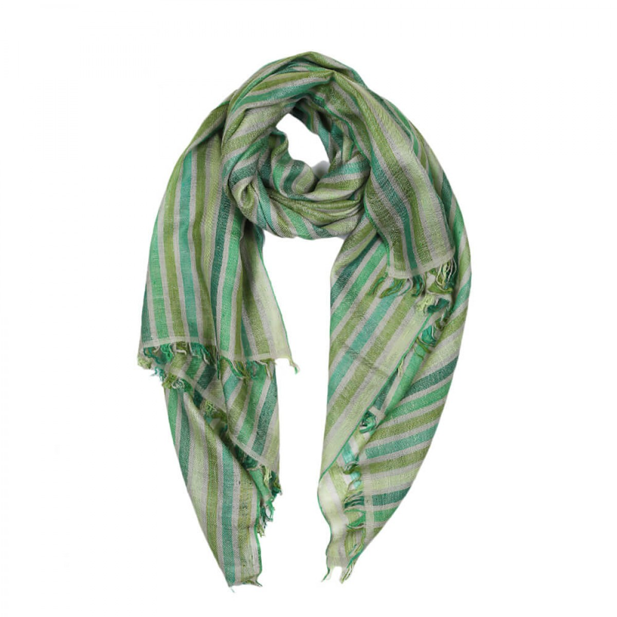 Pattern Pashmina Stole - Green Ferns