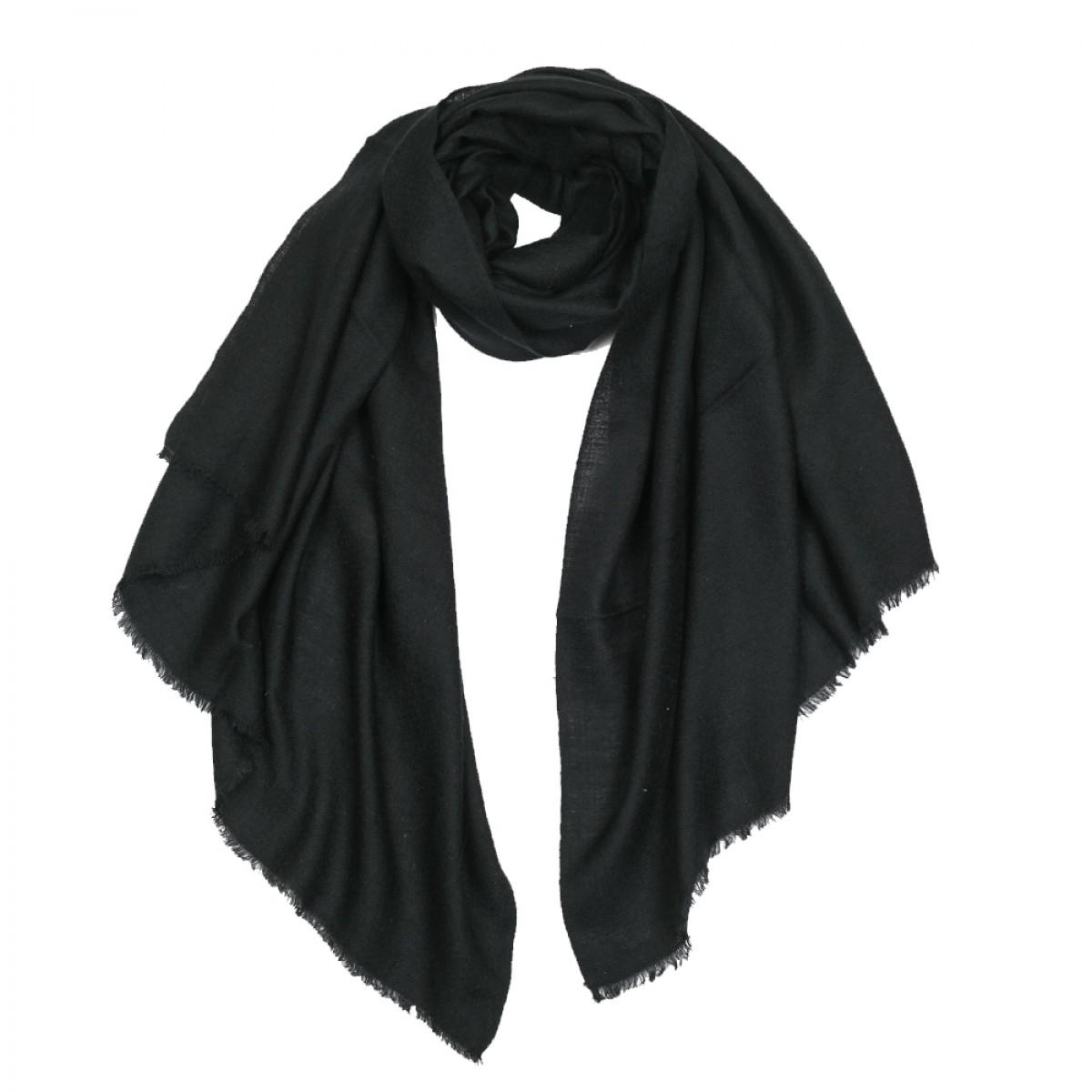 Plain Pashmina Stole Diamond Weave - Black