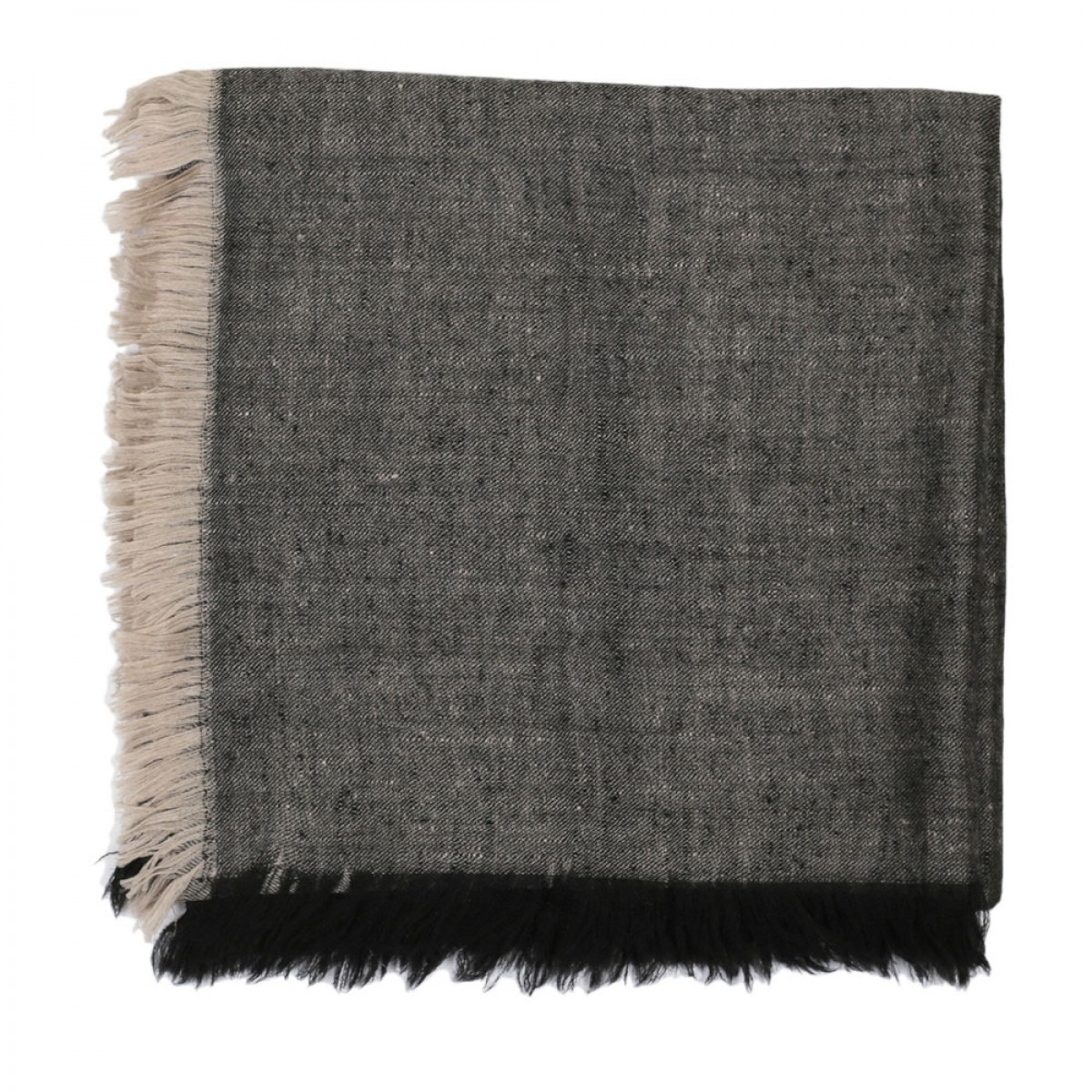 Plain Square Reversible Pashmina Scarf - Black