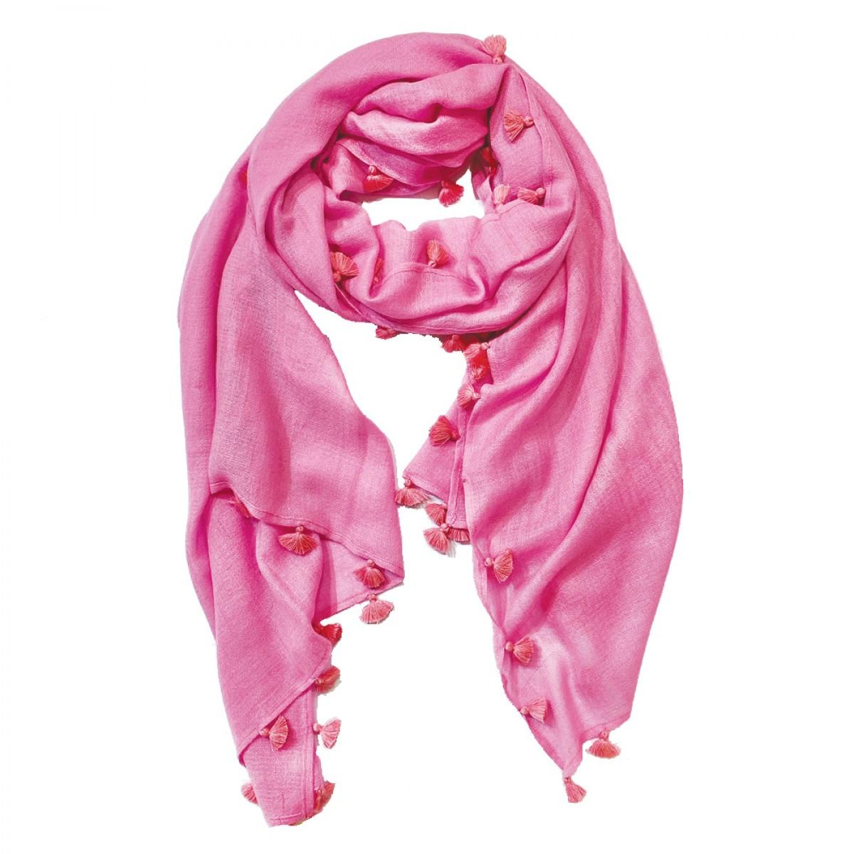Pom Pom Pashmina Stole - Rose Pink