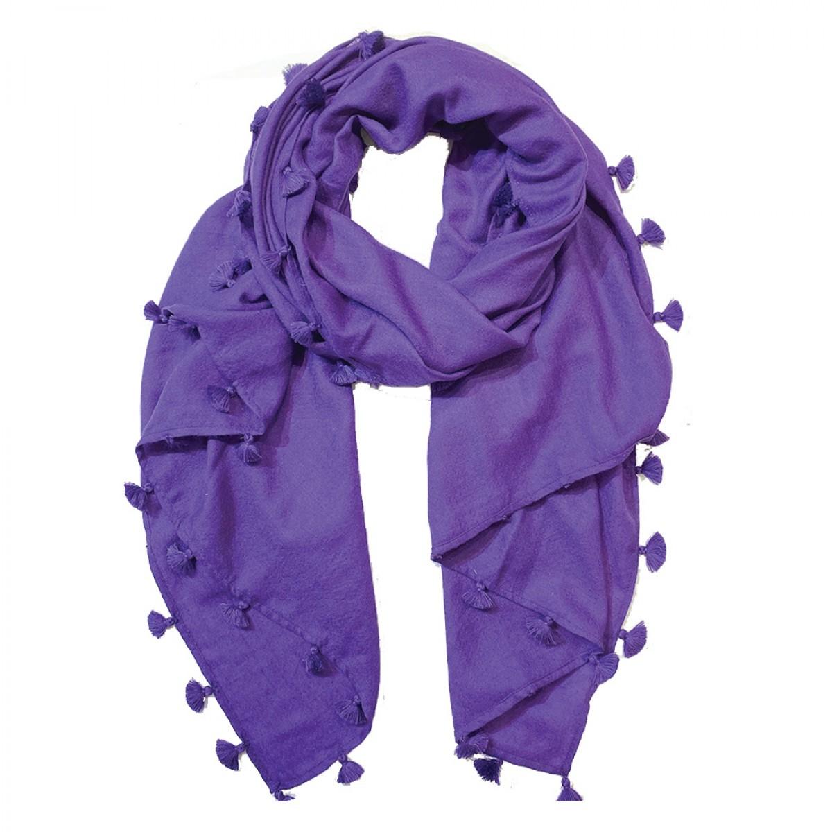 Pom Pom Pashmina Stole - Purple
