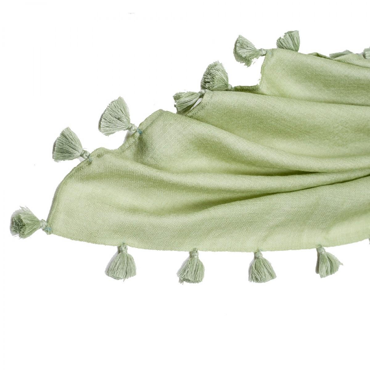 Pom Pom Pashmina Stole - Sage Green