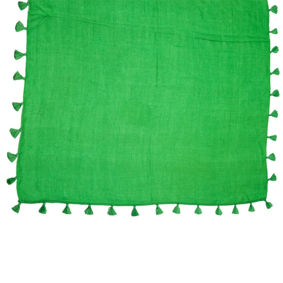 Pom Pom Pashmina Stole - Emerald Green