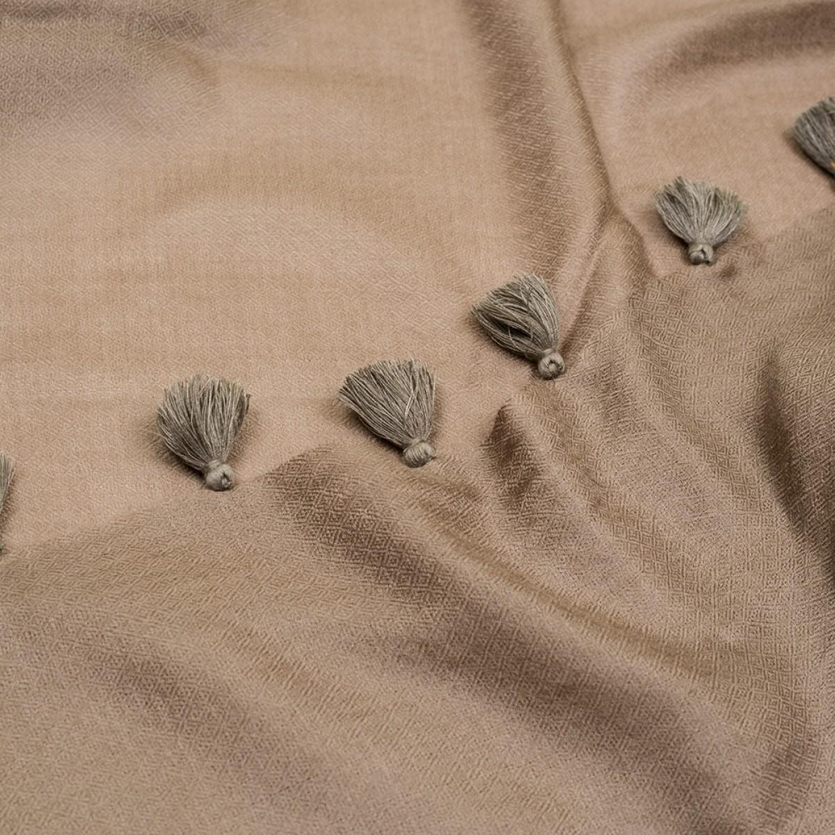 Pom Pom Pashmina Stole - Dark Grey