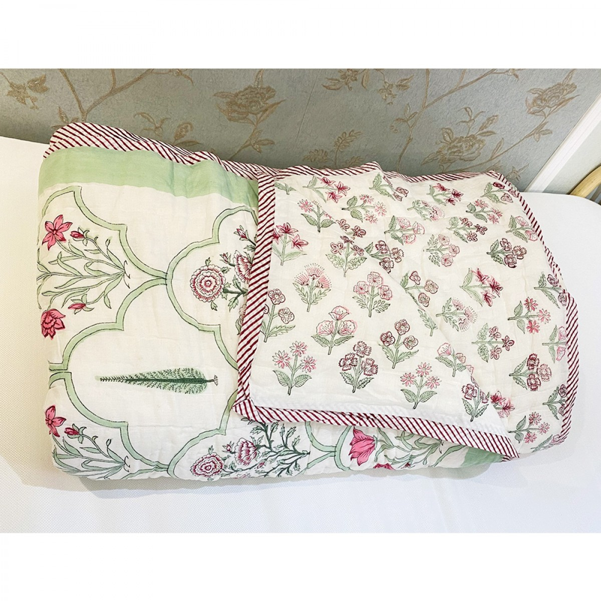 100% Cotton Block Printed Queen Size Quilts - Spring Blossom