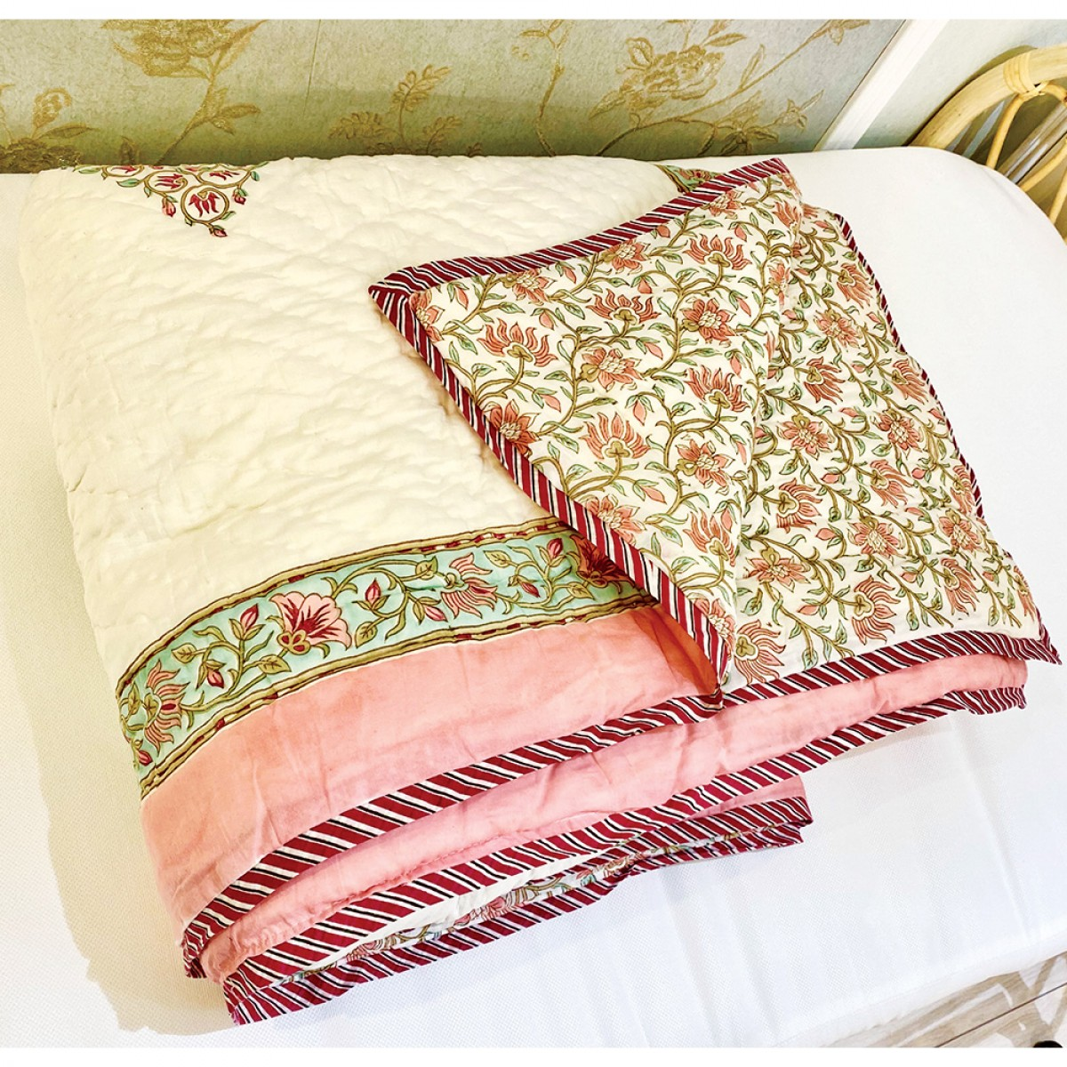 100% Cotton Hand Block Printed Queen Size Quilts - Coral Blossom