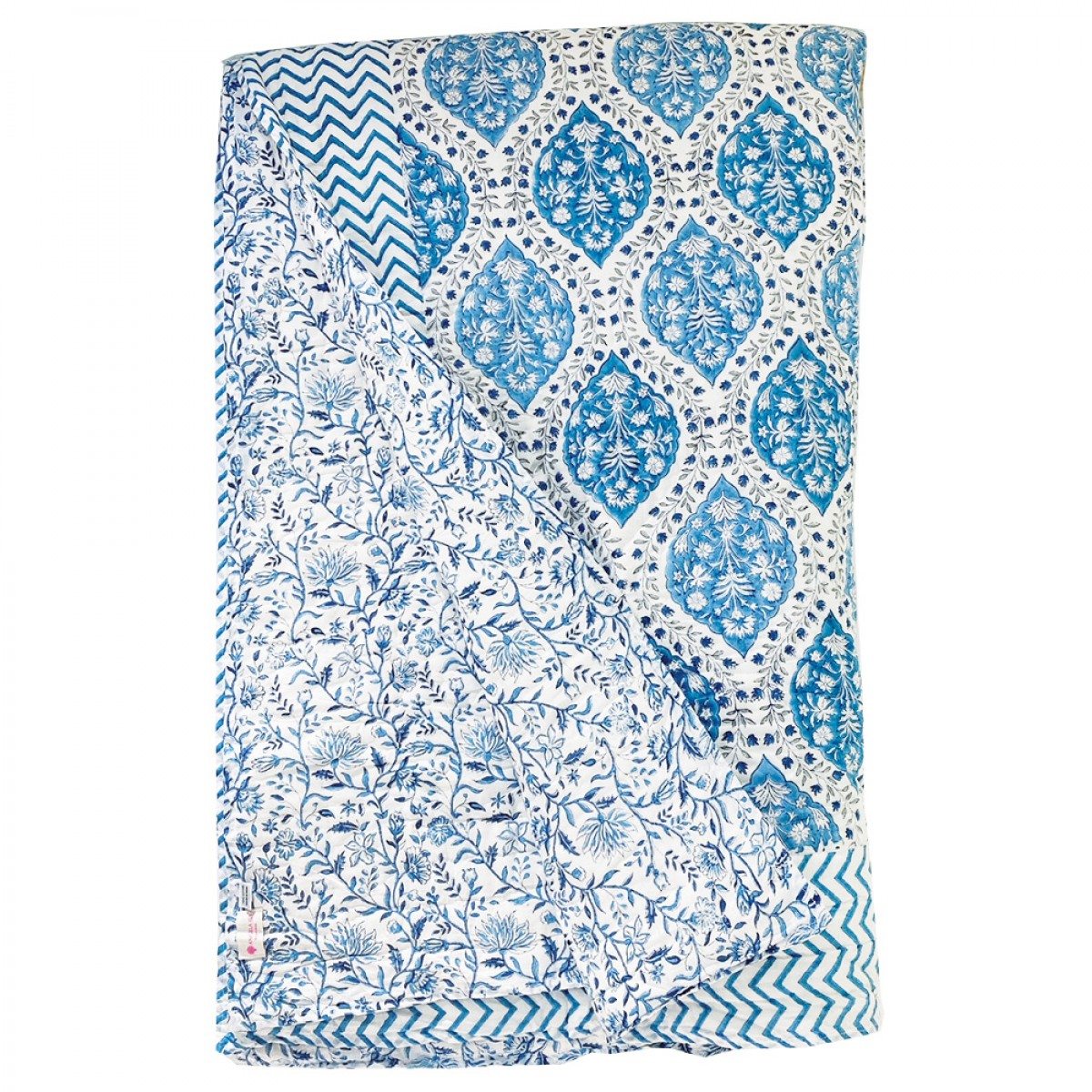 100% Cotton Block Printed Quilts - Blue
