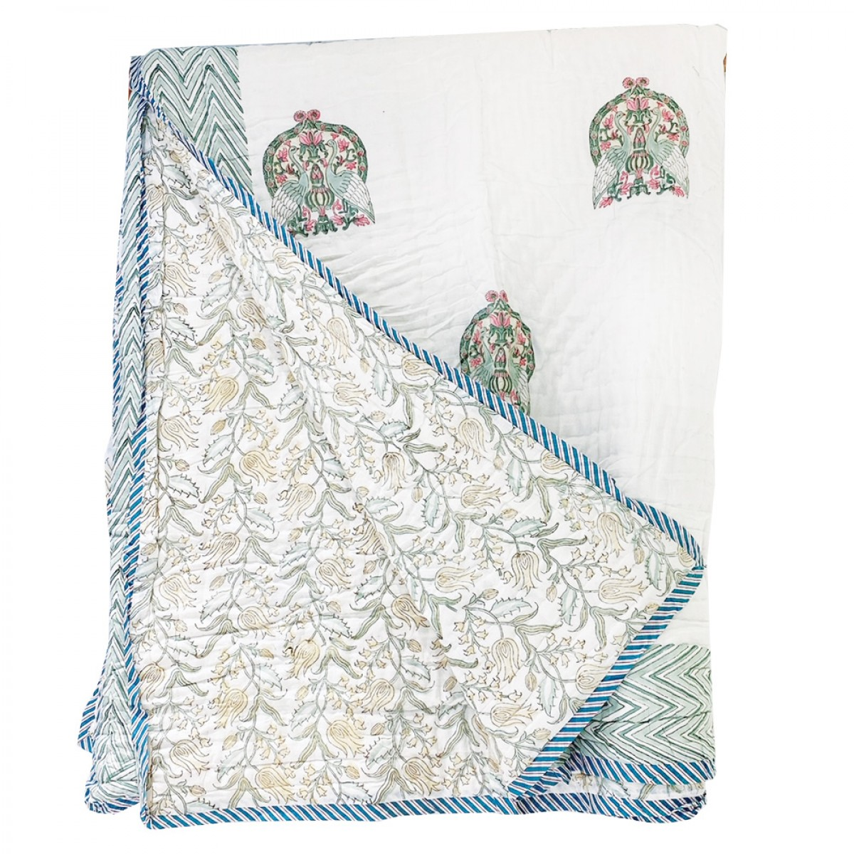 100% Cotton Block Printed Quilts - Peacock