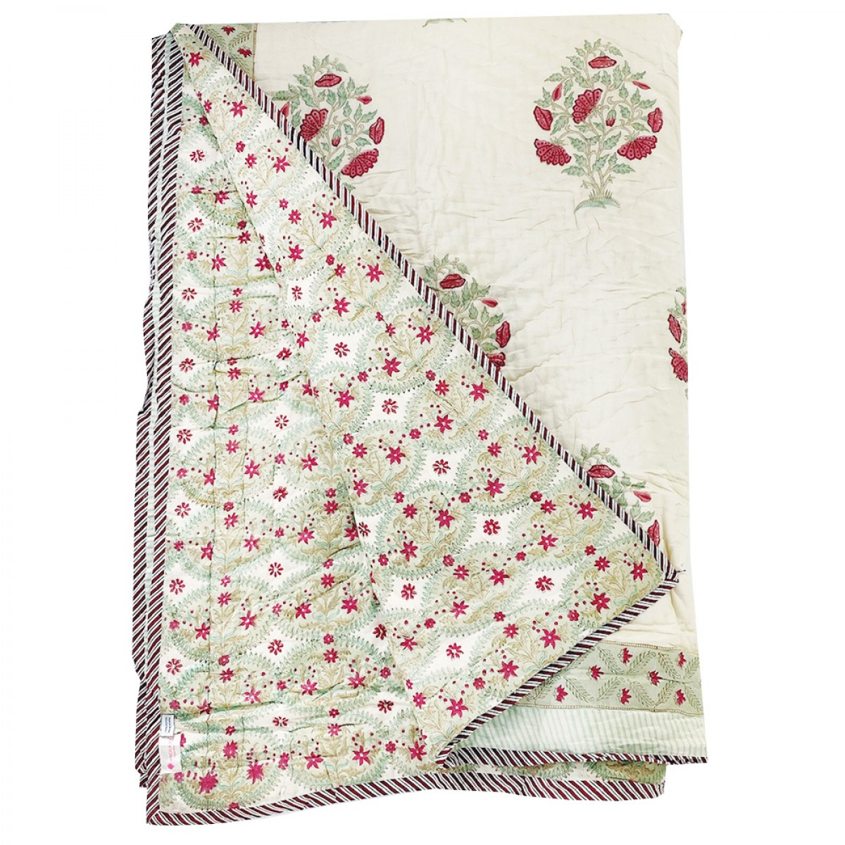 100% Cotton Block Printed Quilts - Red Flower