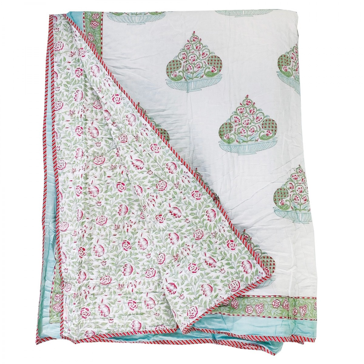 100% Cotton Block Printed Quilts - Green Blossom