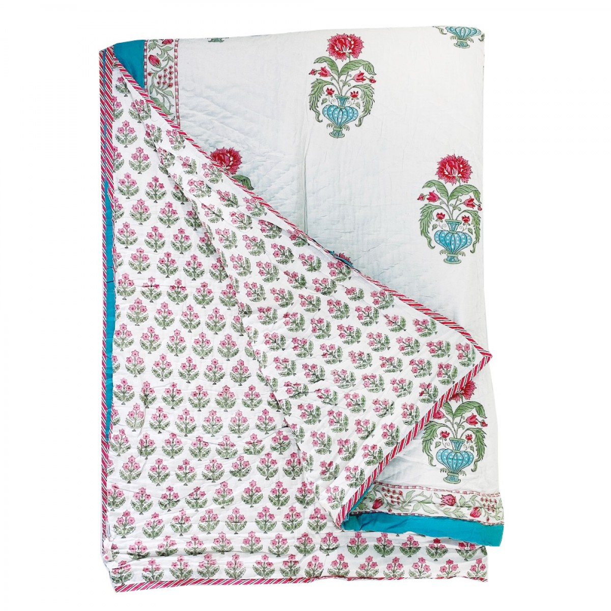 100% Cotton Block Printed Quilts - Turquoise