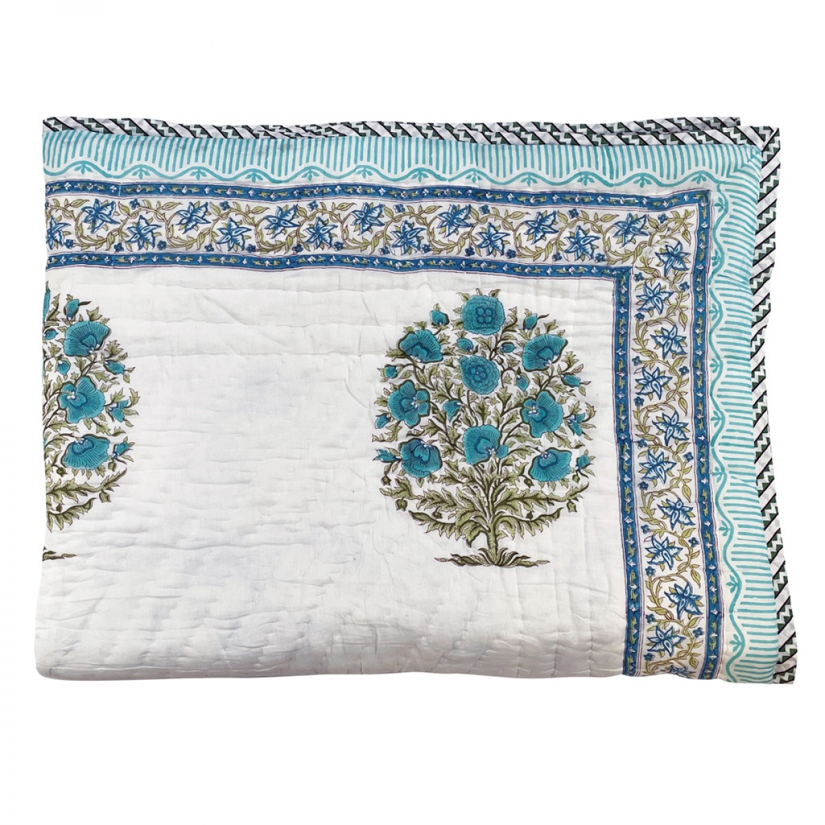 100% Cotton Printed Single Size Quilts - Turquoise Flower