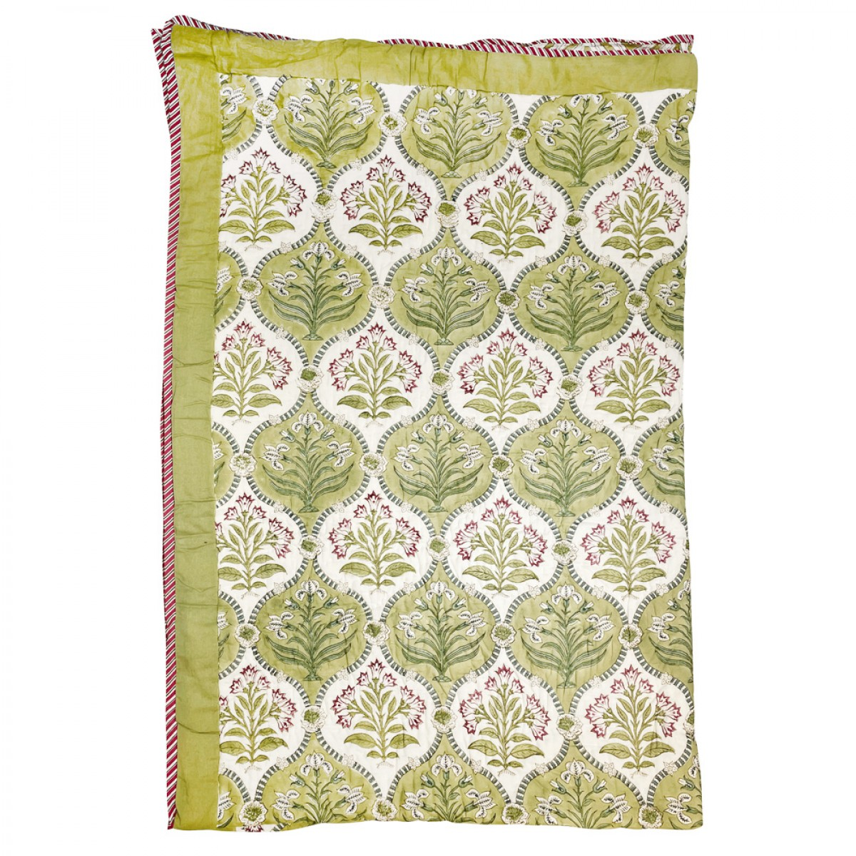 100% Cotton Block Printed Single Size Quilts - Garden Green