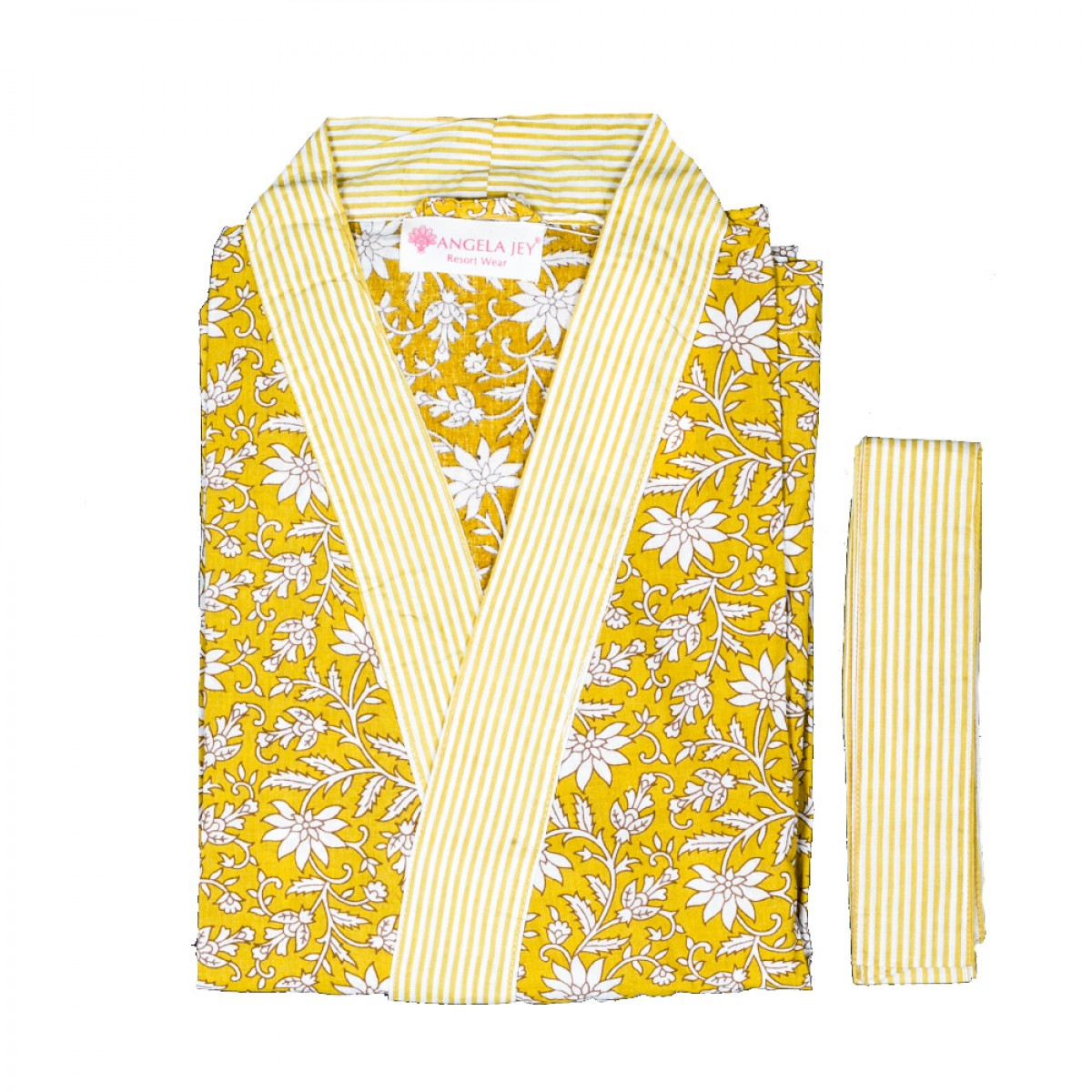Hand Block Print Robe - Tuscany Yellow