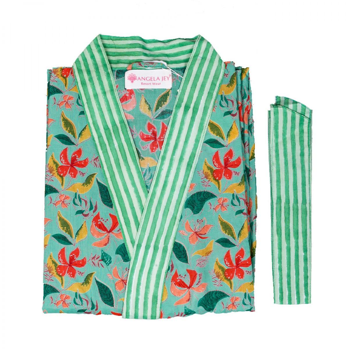 Hand Block Print Robe - Jungle Green