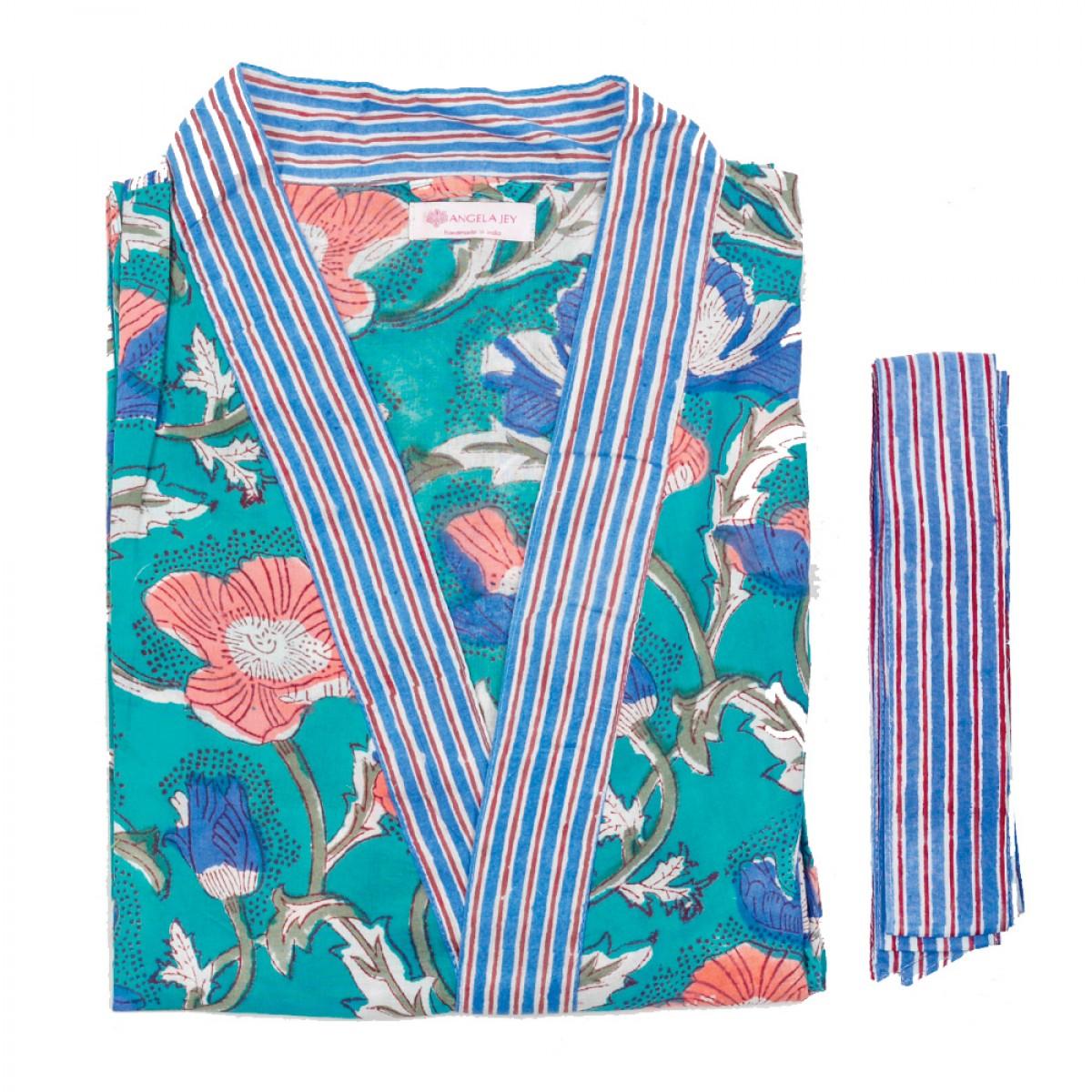 Printed Bathrobe - Tiffany Blue