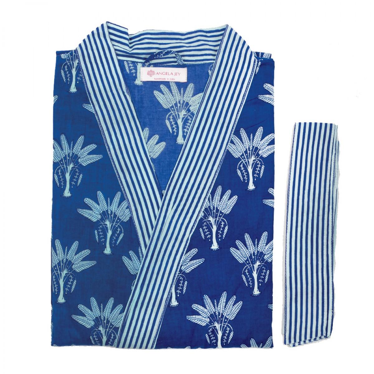 Printed Bathrobe - Azure Blue