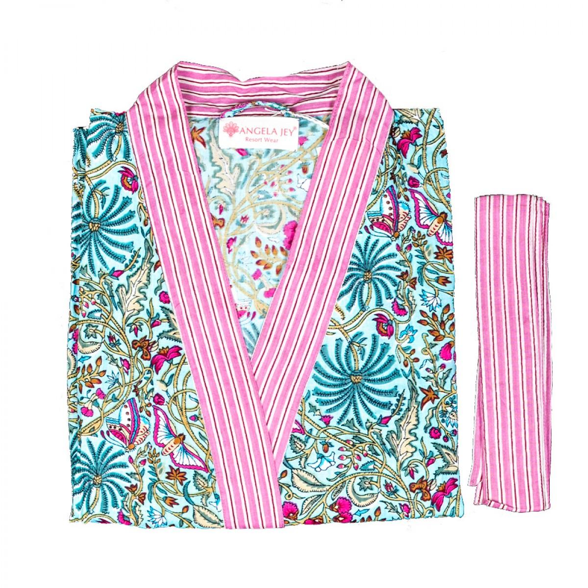 Hand Block Print Robe - Spring Garden
