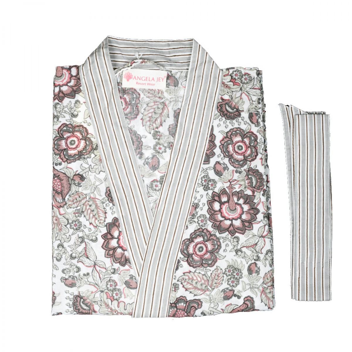 Hand Block Print Robe - Natural