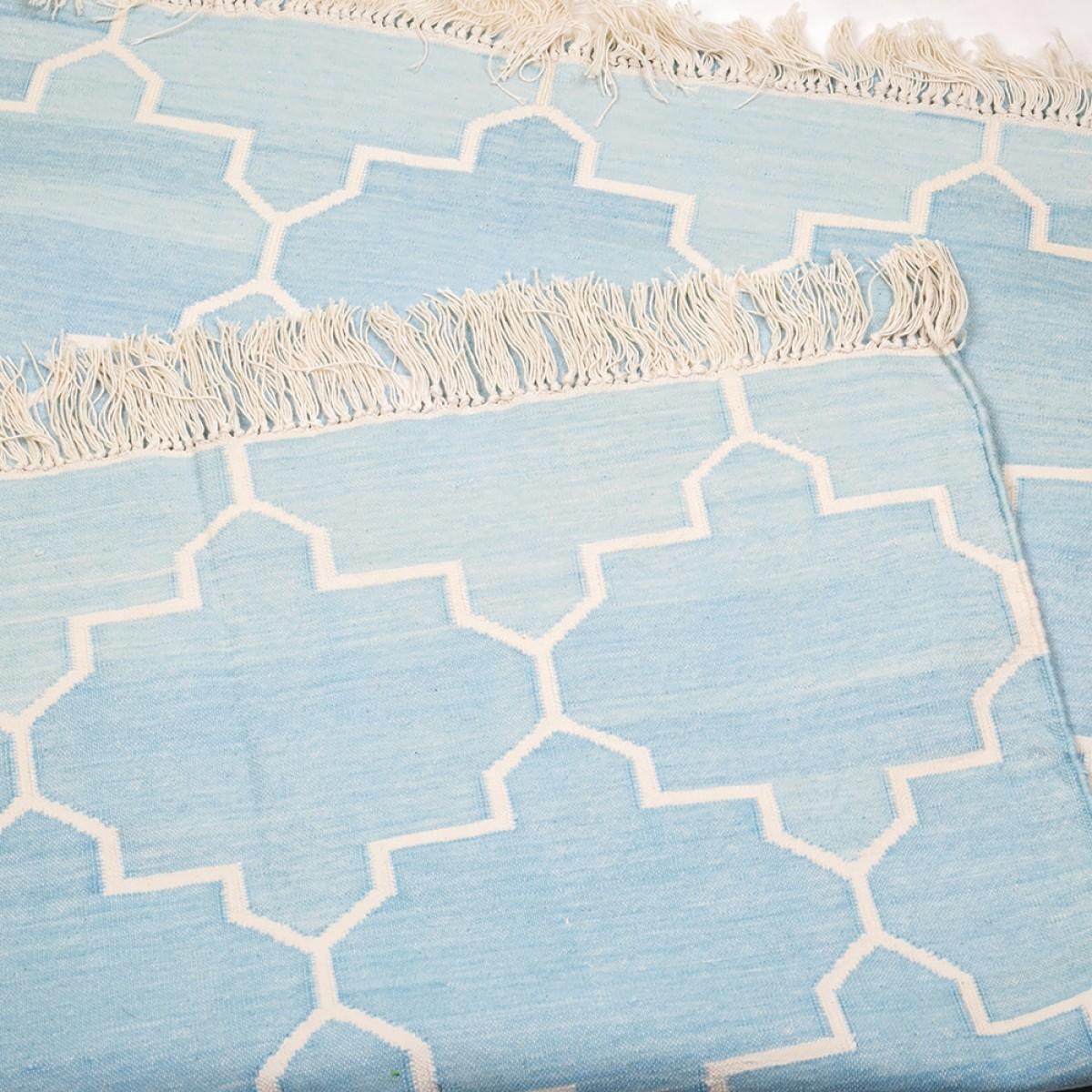 Cotton Floor Rugs - Sky Blue