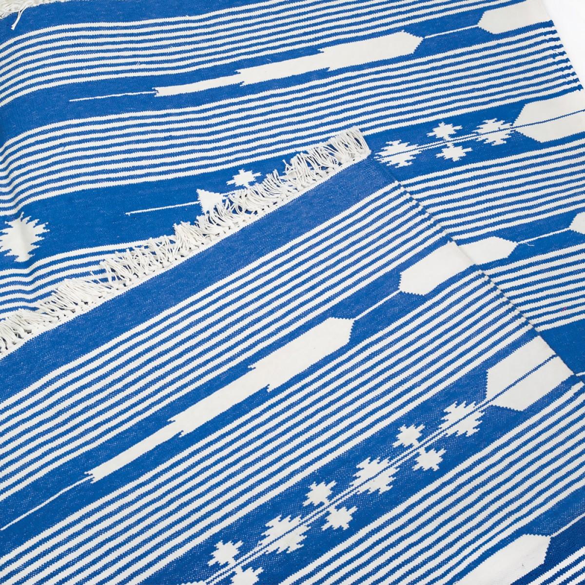 Cotton Floor Rugs - Blue & White